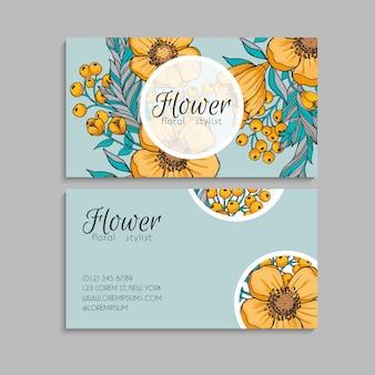 Cartes de visite fleur fleurs jaunes