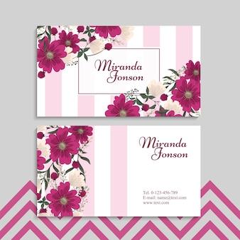 Cartes de visite fleur fleurs rose chaud