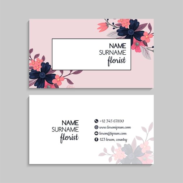 Cartes de visite fleur fleurs roses vector illustration