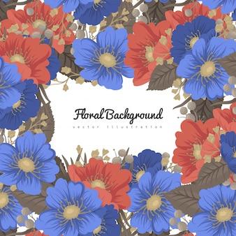 Cartes de visite fleur fond bleu et rouge