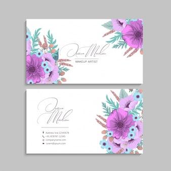Cartes de visite de fleur pourpre