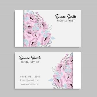 Cartes de visite fleur rose et fleurs bleu clair
