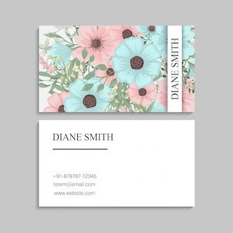 Cartes de visite fleur vert menthe
