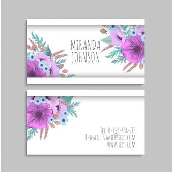 Cartes de visite de fleur violette