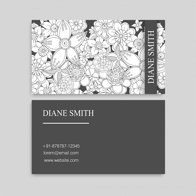 Cartes de visite de fleurs blanches et noires