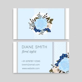 Cartes de visite de fleurs bleu clair
