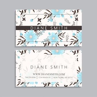 Cartes de visite fleurs bleu clair