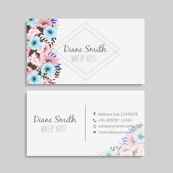 Cartes de visite de fleurs fleurs pastel