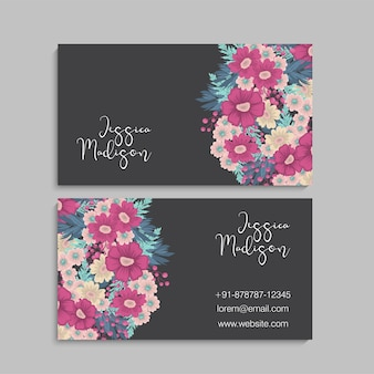 Cartes de visite de fleurs fleurs rose vif