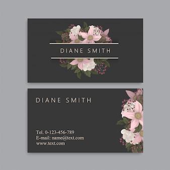 Cartes de visite fleurs fleurs roses