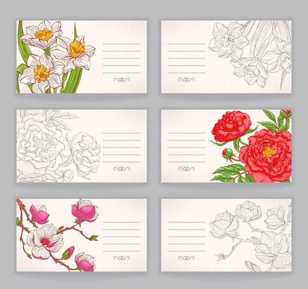 Cartes de visite avec des fleurs