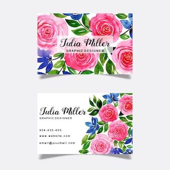 Cartes de visite florales aquarelles