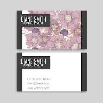 Cartes de visite florales fleurs roses