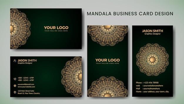 Cartes de visite florales ornementales ou invitation avec modèle de mandala
