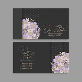 Cartes de visite florales violettes