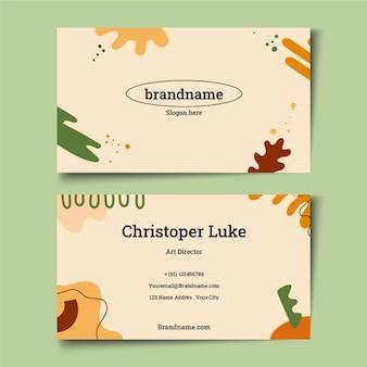 Cartes de visite de formes abstraites plates dessinées à la main