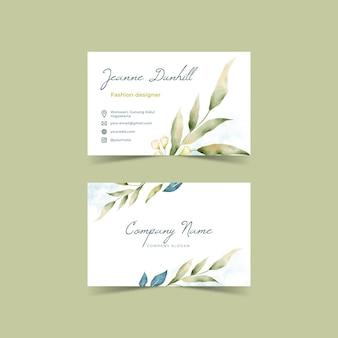 Cartes de visite horizontales florales aquarelle
