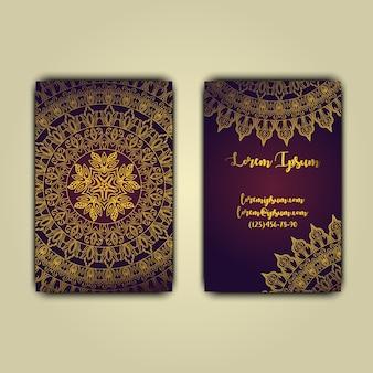 Cartes de visite de luxe avec ornement de mandala floral
