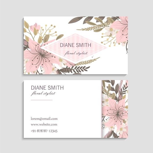 Cartes de visite modèle fleurs roses. arrière et devant