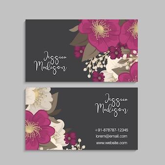 Cartes de visite modèle fleurs roses.