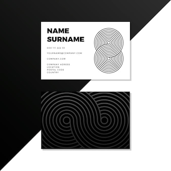 Cartes de visite monochrome lignes courbes