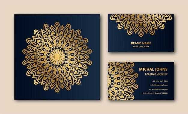 Cartes de visite or avec mandala oriental fleur
