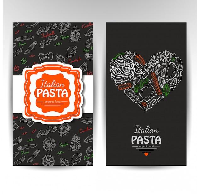 Cartes de visite avec des pâtes italiennes