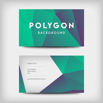 Cartes de visite polygonales vertes