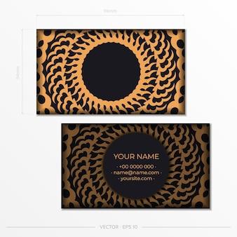 Cartes de visite présentables noires avec cartes de visite d'ornements décoratifs, motif oriental, illustration.