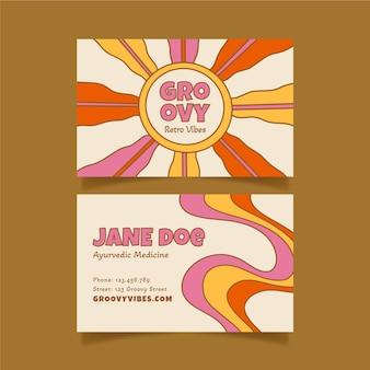 Cartes de visite psychédéliques groovy dessinées à la main