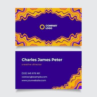 Cartes de visite psychédéliques groovy plates dessinées à la main
