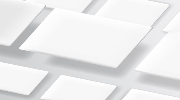 Cartes de visite réalistes sur le modèle de fond blanc.