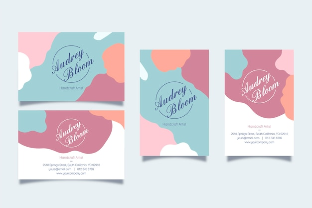Cartes de visite avec des taches pastel abstraites