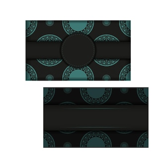 Cartes de visite vectorielles avec place pour votre texte et motifs abstraits. conception de carte de visite noire imprimable avec motifs bleus.