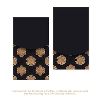 Cartes de visite vectorielles avec place pour votre texte et motifs vintage. conception de carte de visite noire imprimable avec des motifs luxueux.