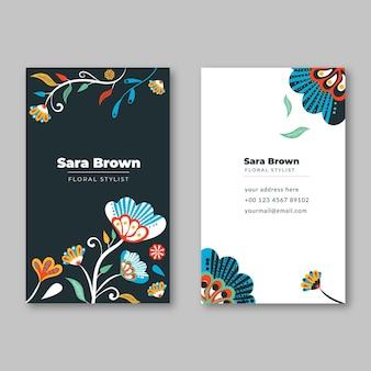 Cartes de visite verticales colorées dessinées à la main