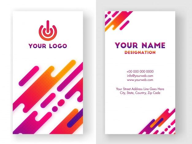 Cartes de visite verticales avec un design brillant et abstrait.