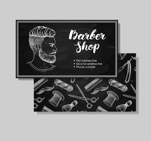Cartes de visite vintage barber shop dessinés à la main.