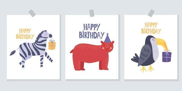 Cartes de voeux avec des animaux. joyeux anniversaire. carte de voeux avec un zèbre.