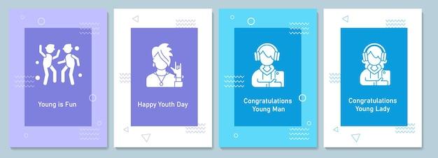 Cartes de voeux de célébration de la journée mondiale de la jeunesse avec jeu d'éléments d'icônes de glyphe. conception de vecteur de carte postale simple créatif. invitation décorative avec une illustration minimale. bannière créative avec texte de célébration