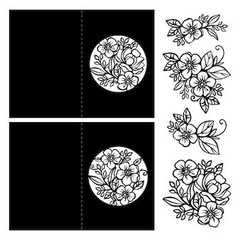Cartes de voeux collection de vacances monochromes à partir de bouquets de fleurs et de cadres ajourés de félicitations pour la coupe et l'impression clipart vector illustration set