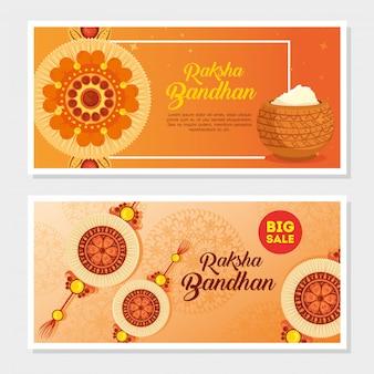 Cartes de voeux fixées pour raksha bandhan, festival indien pour la célébration du collage entre frère et sœur, la relation contraignante