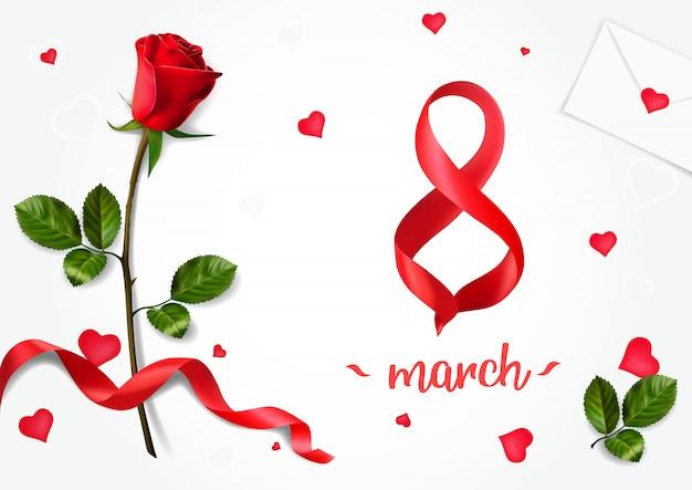 Cartes de voeux horizontales avec roses réalistes au 8 mars