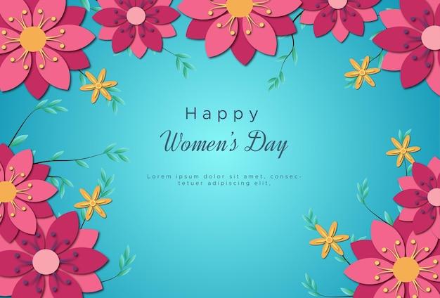 Cartes de voeux de la journée internationale de la femme avec des fleurs douces