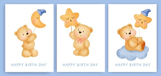 Cartes De Voeux Joyeux Anniversaire Sertie D'ours Mignon. Vecteur Premium