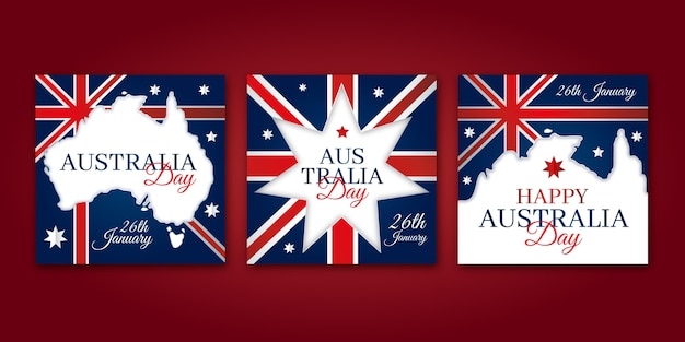 Cartes de voeux joyeux jour australie