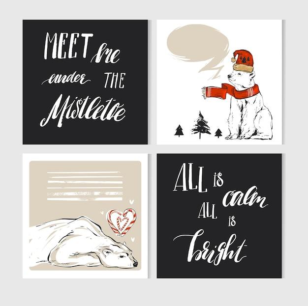 Cartes de voeux joyeux noël faites à la main avec des personnages mignons d'ours polaire de noël dans des vêtements d'hiver et une calligraphie moderne.