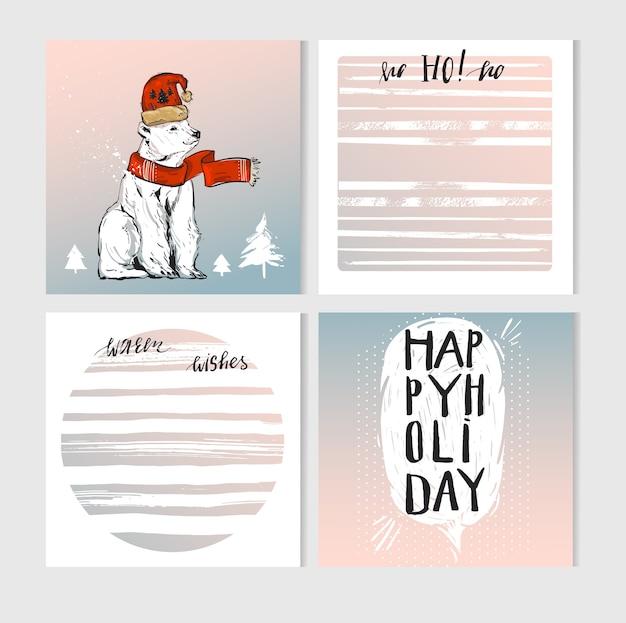 Cartes de voeux joyeux noël faites à la main avec des personnages mignons d'ours polaire de noël dans des vêtements d'hiver et des listes de journalisation de planificateur avec des citations de calligraphie de noël modernes dans des couleurs pastel.