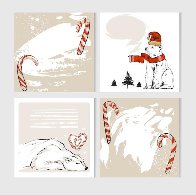 Cartes de voeux joyeux noël faites à la main avec des personnages mignons d'ours polaires de noël dans des vêtements d'hiver et des cannes de bonbon.