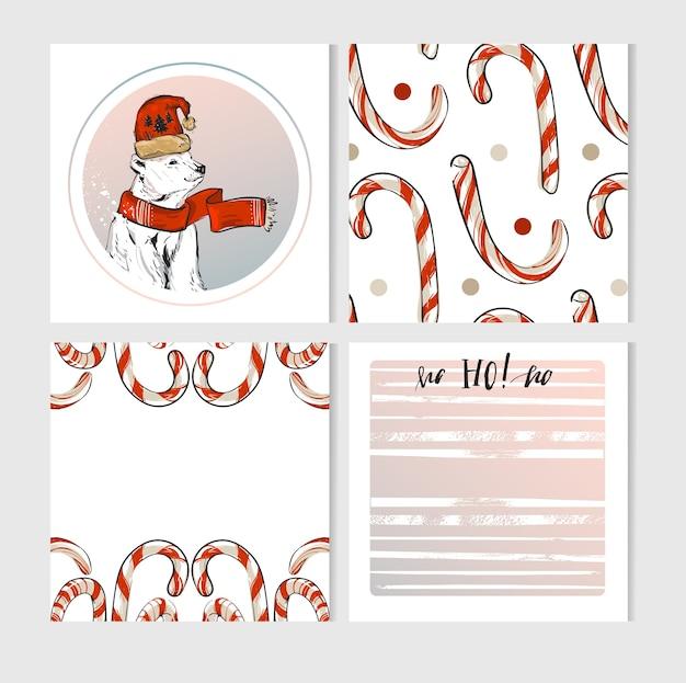Cartes de voeux joyeux noël faites à la main sertie de personnages mignons d'ours polaires de noël dans des vêtements d'hiver et des cannes de bonbon dans des couleurs pastel isoler